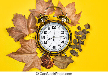 Old alarm clock and dry leaves