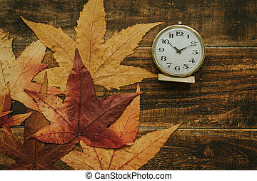 Old alarm clock between yellow leaves