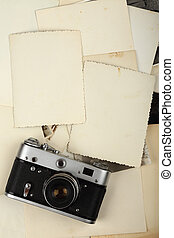 old album and camera