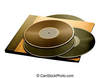 vintage album with vinyl records isolated