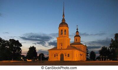 Old Alexander Nevskiy Church in Vologda, time lapse