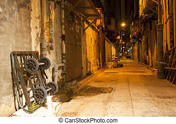 Old alley in Hong Kong at night