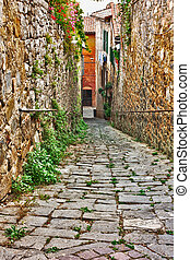 old alley in Tuscany - old narrow alley in tuscan village -...