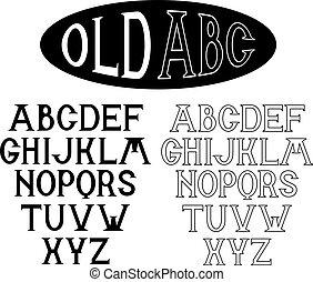 old alphabet for labels