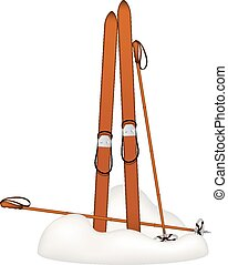 Old alpine skis and ski poles - Old wooden alpine skis and...