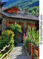 Old alps architecture with violet and pink flowers