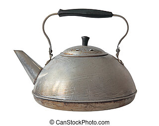 Old aluminum kettle.Isolated. - Old aluminum kettle isolated...
