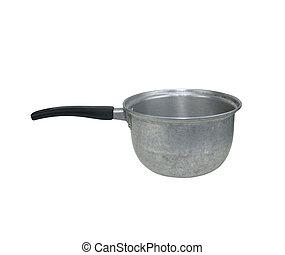 Old aluminum pot isolated on white background