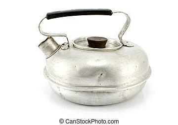Old aluminum teapot