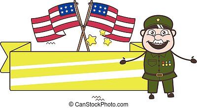 Old American Army Man with US Flags and Banner Vector Illustration