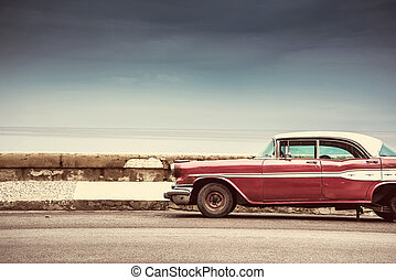 Old american car on street in Havana,Cuba