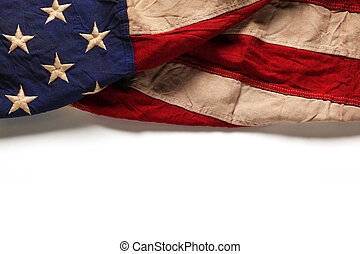 Old American flag background for Memorial Day or 4th of July