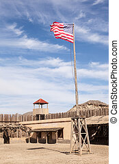 Old american fort - Old wooden american wild west fort