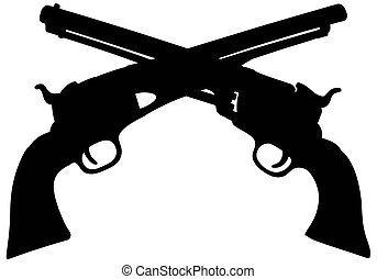 Old american handguns - Hand drawing of a sihouette of two...
