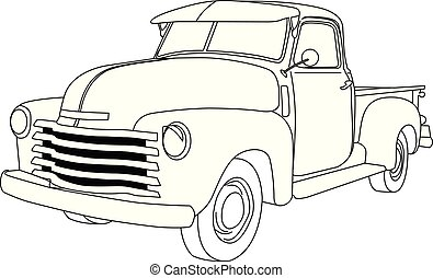 Old american pick-up truck - reto pickup car, front-side view