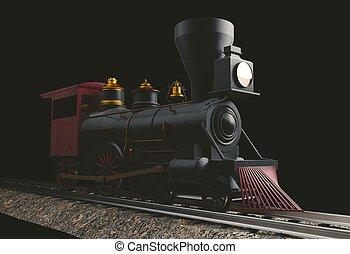 Old American Steam Locomotive 3D illustration