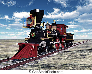 Old American Steam Locomotive - Computer generated 3D...