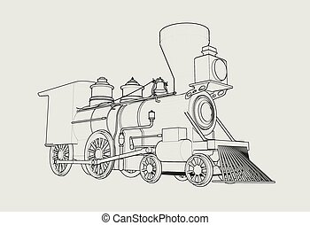 Old American Steam Locomotive outline sketch 3D illustration
