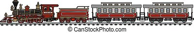 Old american steam train - Hand drawing of an old american...