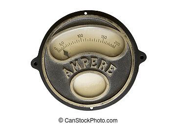 old ampere meter - vintage ampere meter on a white...