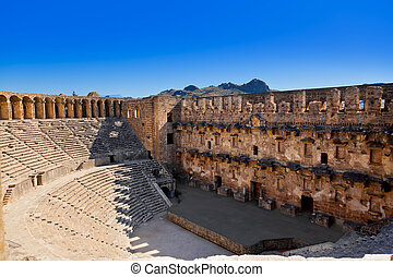 Old amphitheater Aspendos in Antalya, Turkey - archaeology ...