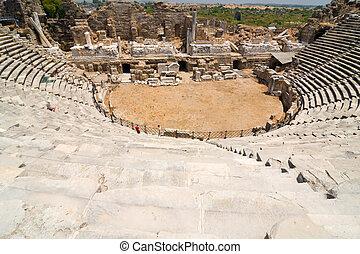 Old amphitheater in Side, Turkey
