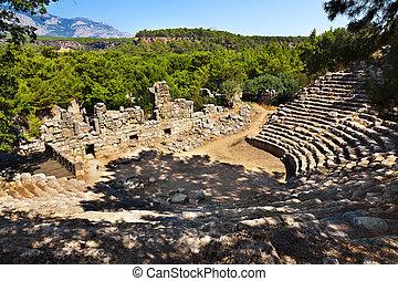 Old amphitheater Phaselis in Antalya, Turkey