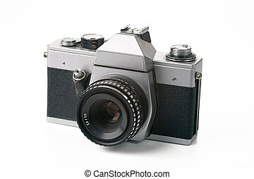old analogue camera - 35mm film camera on white background