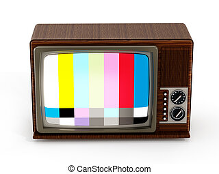 Old analogue television with test screen. 3D illustration