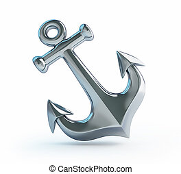 old anchor on a white background