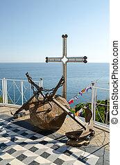 Old anchors near the Temple-beacon in Malorechenskoye. Crimea.