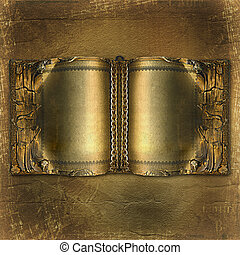 Old ancient book with gold pages on the abstract background