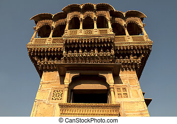 old ancient haveli at jaisalmer fort, rajasthan during...