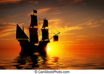 Old ancient pirate ship on peaceful ocean at sunset. Calm...