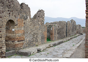 Old ancient village town rocks street of Italian Roman Pompei
