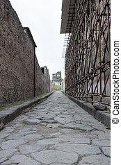 Old ancient village town stone rocks street of Italian Pompei