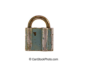 old and aged metal lock isolated on white
