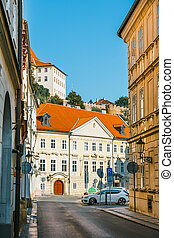 Old and colorful streets in the old town of Prague, Czech Republic