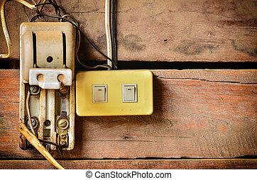 Old and damaged plug socket