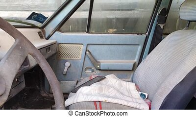 Old, destroyed and abandoned car Interior