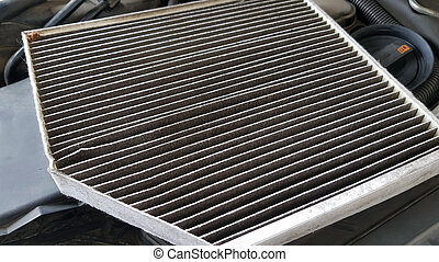Old and dirty car air filter