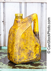 Old and dirty oil gallon