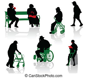 Old and disabled people - Silhouette of old and disabled...