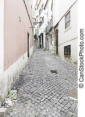 Old and historic alley in Lisbon
