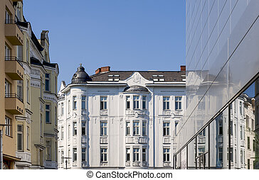 Old and modern buildings in city center