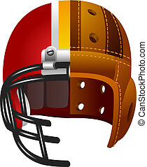 Old and new american football helmet