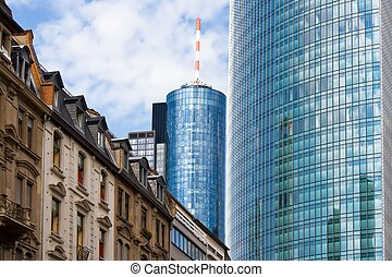 Old and new architecture in Frankfurt, Germany