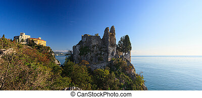 Old and new castle, Duino - View of old and new castle in...