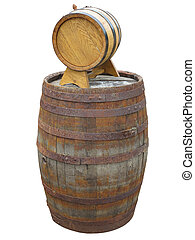Old and new classic wooden barrel isolated over white