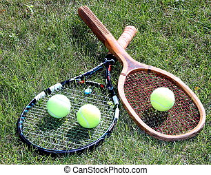 Old and new tennis rackets